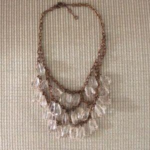 J Crew copper multi strand clear bead necklace